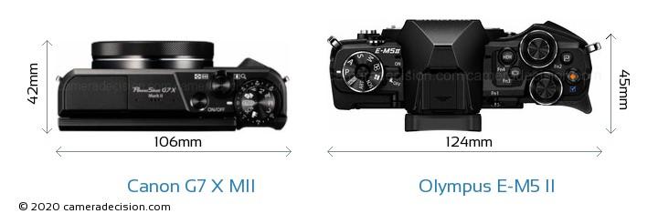 Canon G7 X MII vs Olympus E-M5 II Camera Size Comparison - Top View