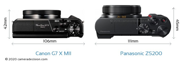 Canon G7 X MII vs Panasonic ZS200 Camera Size Comparison - Top View