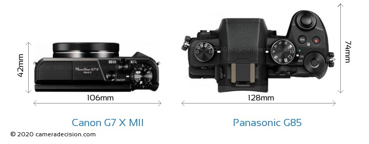 Canon G7 X MII vs Panasonic G85 Camera Size Comparison - Top View