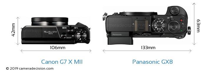 Canon G7 X MII vs Panasonic GX8 Camera Size Comparison - Top View