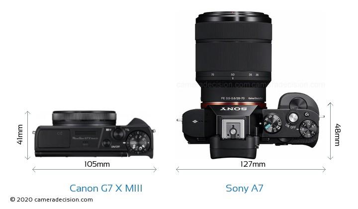 Canon G7 X MIII vs Sony A7 Camera Size Comparison - Top View