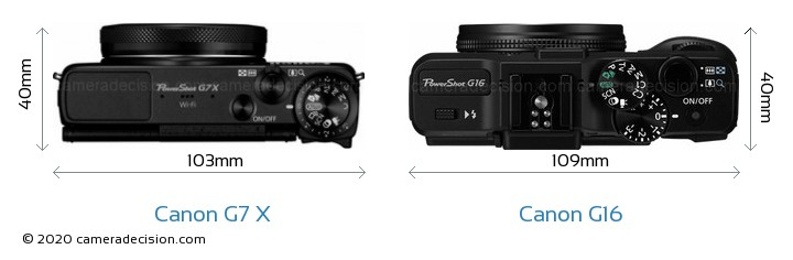 Canon G7 X vs Canon G16 Camera Size Comparison - Top View