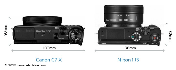 Canon G7 X vs Nikon 1 J5 Camera Size Comparison - Top View