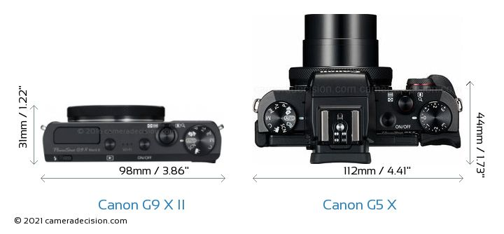 Canon G9 X II vs Canon G5 X Camera Size Comparison - Top View