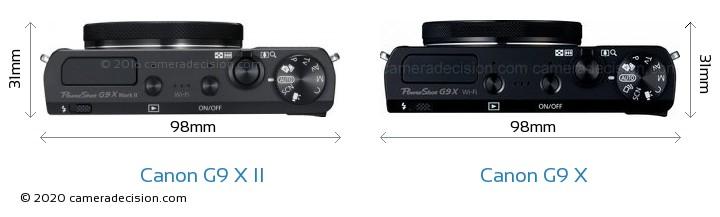 Canon G9 X II vs Canon G9 X Camera Size Comparison - Top View