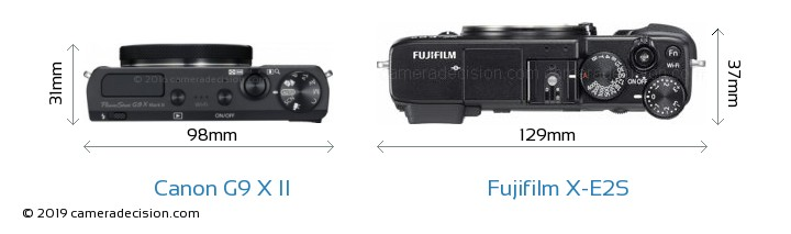 Canon G9 X II vs Fujifilm X-E2S Camera Size Comparison - Top View