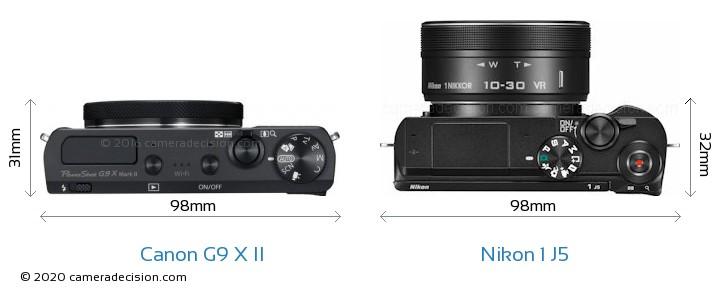Canon G9 X II vs Nikon 1 J5 Camera Size Comparison - Top View