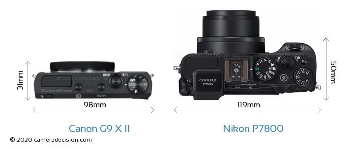 Canon G9 X II vs Nikon P7800 Camera Size Comparison - Top View