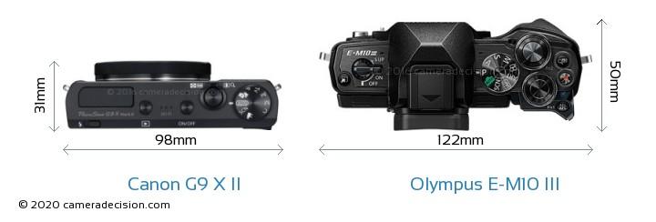 Canon G9 X II vs Olympus E-M10 MIII Camera Size Comparison - Top View