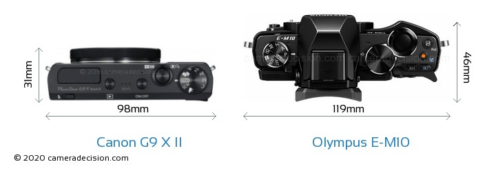 Canon G9 X II vs Olympus E-M10 Camera Size Comparison - Top View