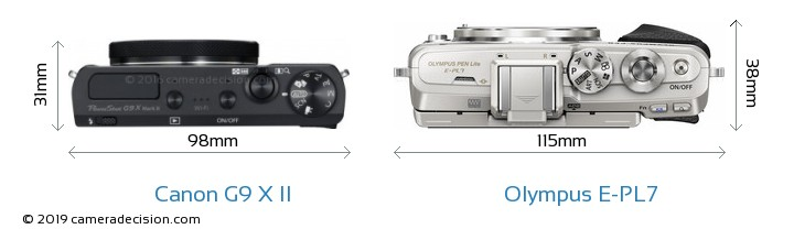 Canon G9 X II vs Olympus E-PL7 Camera Size Comparison - Top View