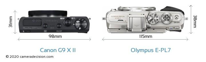 Canon G9 X II vs Olympus E-PL7 Camera Size Comparison - Top View