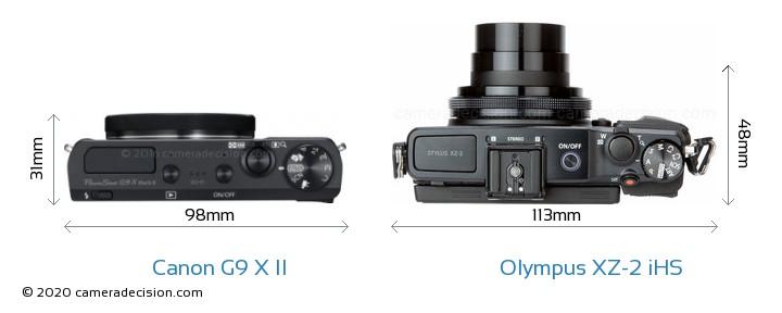 Canon G9 X II vs Olympus XZ-2 iHS Camera Size Comparison - Top View