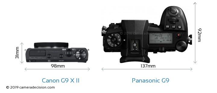 Canon G9 X II vs Panasonic G9 Camera Size Comparison - Top View