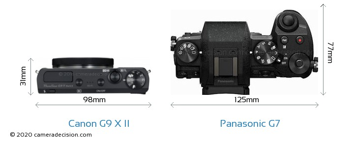 Canon G9 X II vs Panasonic G7 Camera Size Comparison - Top View