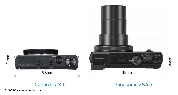 Canon G9 X II vs Panasonic ZS40 Camera Size Comparison - Top View