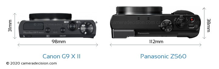 Canon G9 X II vs Panasonic ZS60 Camera Size Comparison - Top View