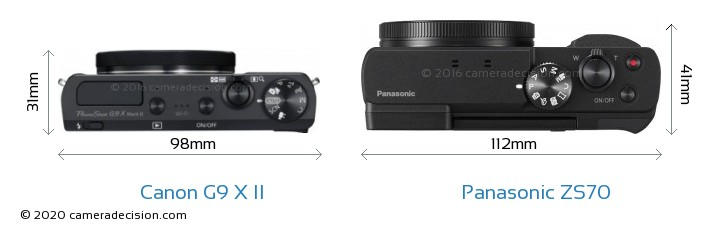 Canon G9 X II vs Panasonic ZS70 Camera Size Comparison - Top View