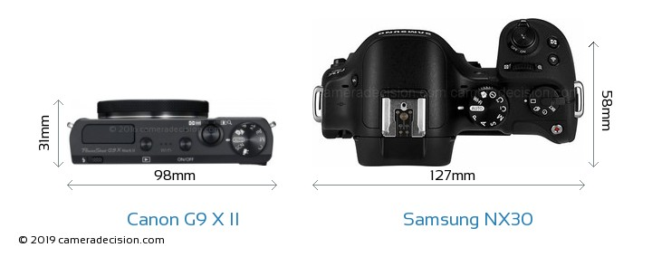 Canon G9 X II vs Samsung NX30 Camera Size Comparison - Top View