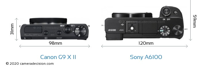 Canon G9 X II vs Sony A6100 Camera Size Comparison - Top View