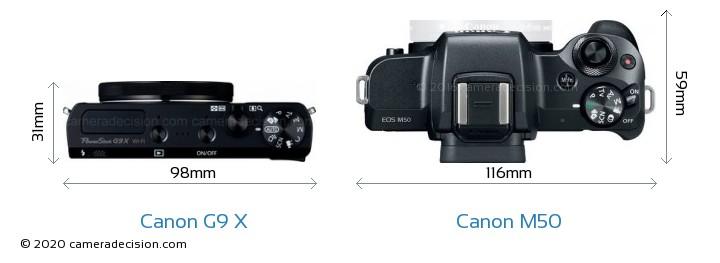 Canon G9 X vs Canon M50 Camera Size Comparison - Top View