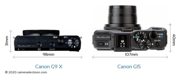 Canon G9 X vs Canon G15 Camera Size Comparison - Top View