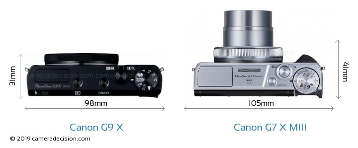 Canon G9 X vs Canon G7 X MIII Camera Size Comparison - Top View