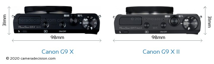 Canon G9 X vs Canon G9 X II Camera Size Comparison - Top View