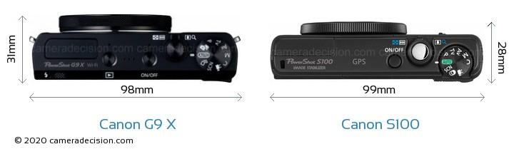 Canon G9 X vs Canon S100 Camera Size Comparison - Top View