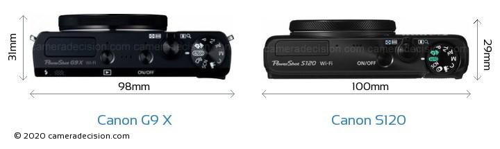Canon G9 X vs Canon S120 Camera Size Comparison - Top View