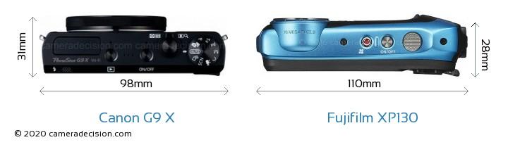 Canon G9 X vs Fujifilm XP130 Camera Size Comparison - Top View