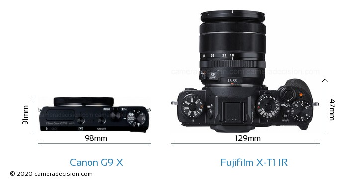 Canon G9 X vs Fujifilm X-T1 IR Camera Size Comparison - Top View