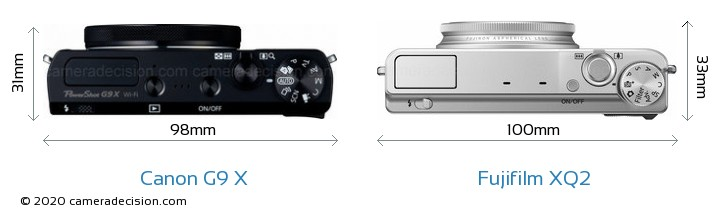 Canon G9 X vs Fujifilm XQ2 Camera Size Comparison - Top View