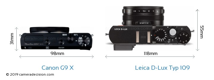 Canon G9 X vs Leica D-Lux Typ 109 Camera Size Comparison - Top View