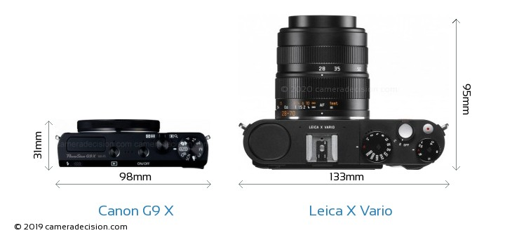 Canon G9 X vs Leica X Vario Camera Size Comparison - Top View