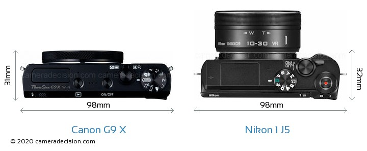 Canon G9 X vs Nikon 1 J5 Camera Size Comparison - Top View