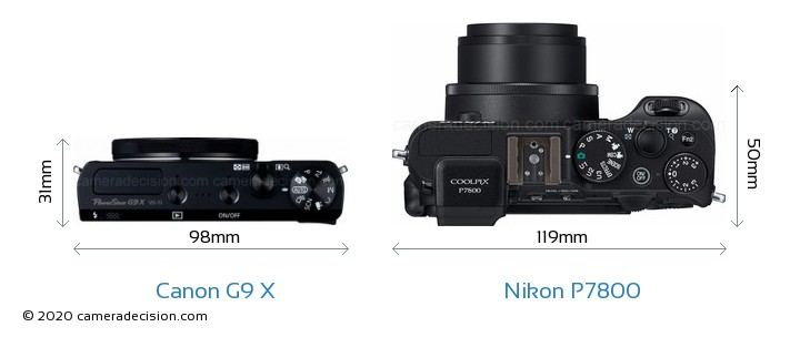 Canon G9 X vs Nikon P7800 Camera Size Comparison - Top View