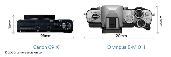 Canon G9 X vs Olympus E-M10 II Camera Size Comparison - Top View