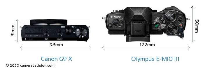 Canon G9 X vs Olympus E-M10 MIII Camera Size Comparison - Top View