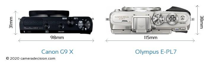 Canon G9 X vs Olympus E-PL7 Camera Size Comparison - Top View