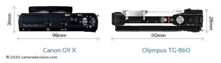 Canon G9 X vs Olympus TG-860 Camera Size Comparison - Top View