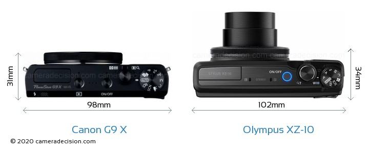 Canon G9 X vs Olympus XZ-10 Camera Size Comparison - Top View