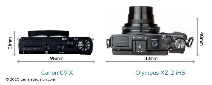 Canon G9 X vs Olympus XZ-2 iHS Camera Size Comparison - Top View
