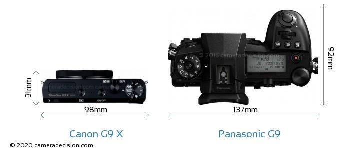 Canon G9 X vs Panasonic G9 Camera Size Comparison - Top View