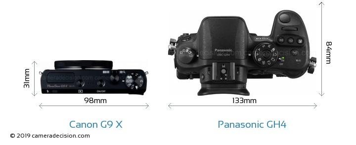 Canon G9 X vs Panasonic GH4 Camera Size Comparison - Top View