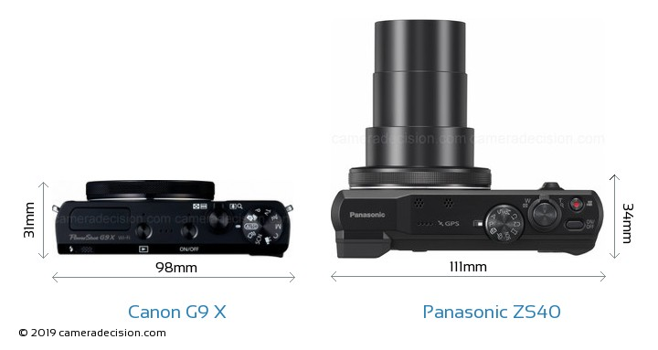 Canon G9 X vs Panasonic ZS40 Camera Size Comparison - Top View