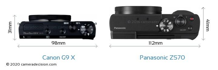 Canon G9 X vs Panasonic ZS70 Camera Size Comparison - Top View