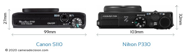 Canon S110 vs Nikon P330 Camera Size Comparison - Top View