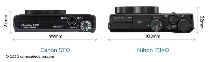 Canon S110 vs Nikon P340 Camera Size Comparison - Top View