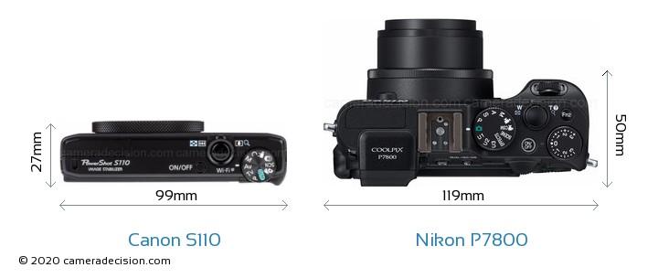 Canon S110 vs Nikon P7800 Camera Size Comparison - Top View